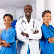 Group of african american doctor and nurse — Stock Photo