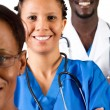 African medical professionals on white — Foto Stock