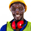 Foto Stock: Happy african industrial worker closeup