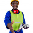 Friendly male african construction worker — Stock Photo