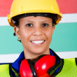 Stock Photo: African female industrial worker closeup
