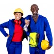African american industrial workers — Stock Photo
