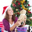 Stock Photo: Young woman with christmas gift