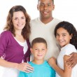Happy multiracial family of four — Stock Photo