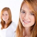 Beautiful teen girls on white — Stock Photo