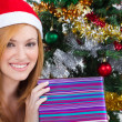 Young woman with Christmas present — Stock Photo #11308977