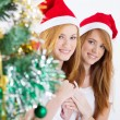 Stock Photo: Happy young friends behind Christmas tree