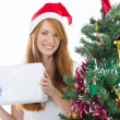 Teen girl holding christmas present — Stock Photo