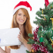 Teen girl holding christmas present — Stockfoto