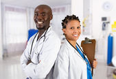 Happy african american medical professionals — Stock Photo