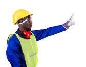 African american industrial builder giving stop sign — Stock Photo