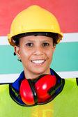 Afrikanska kvinnliga industriarbetare närbild — Stockfoto