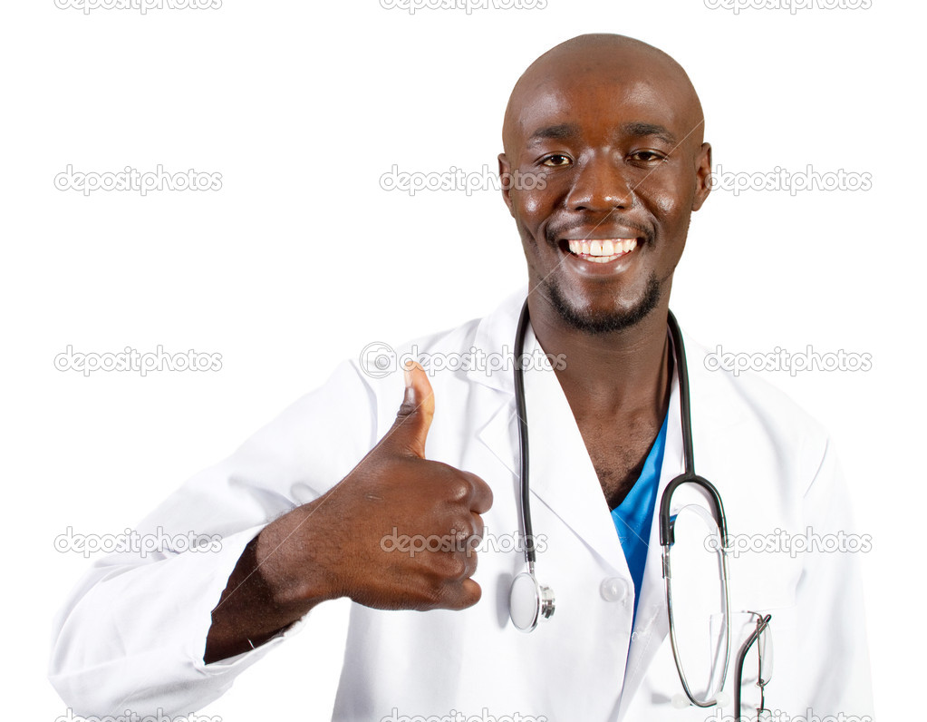 Happy african doctor giving thumb up on white — Stock fotografie #11306809
