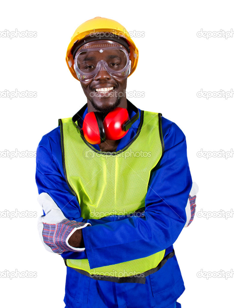 Male african builder with full protective gear  Stock Photo #11306819