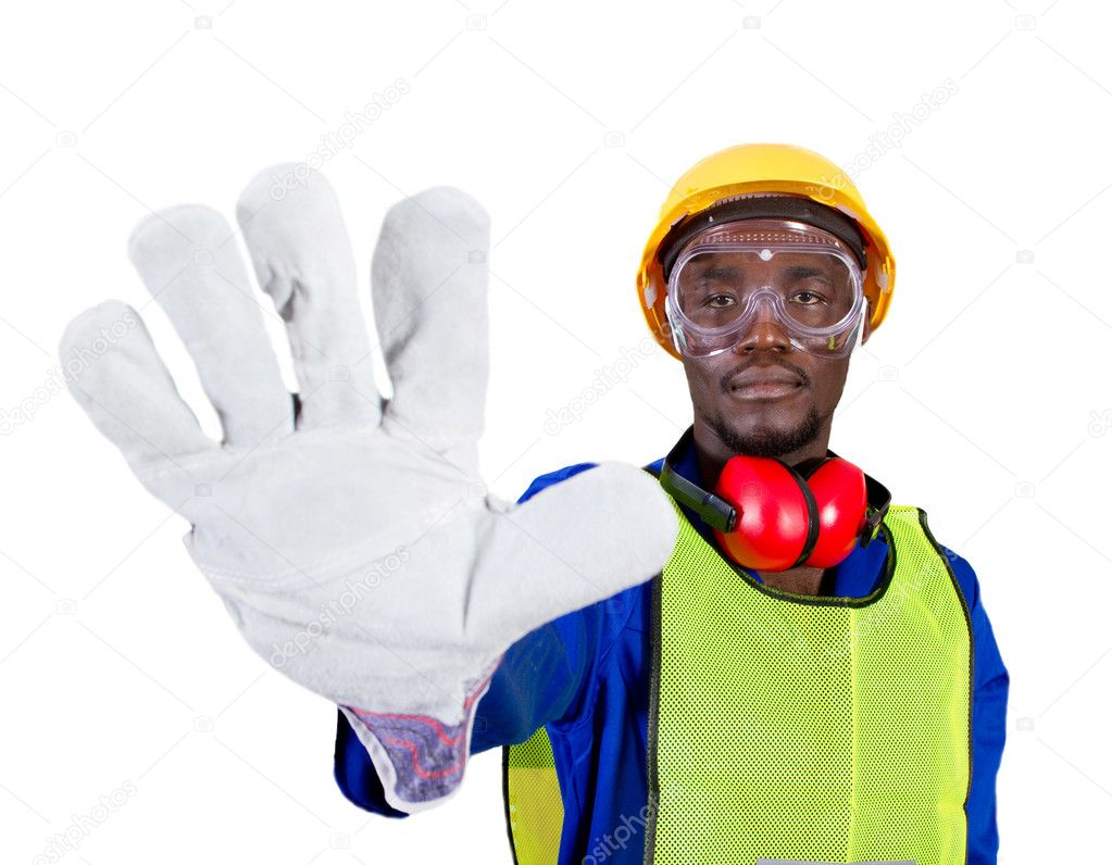 African industrial worker or builder giving stop sign — Stock Photo #11306832