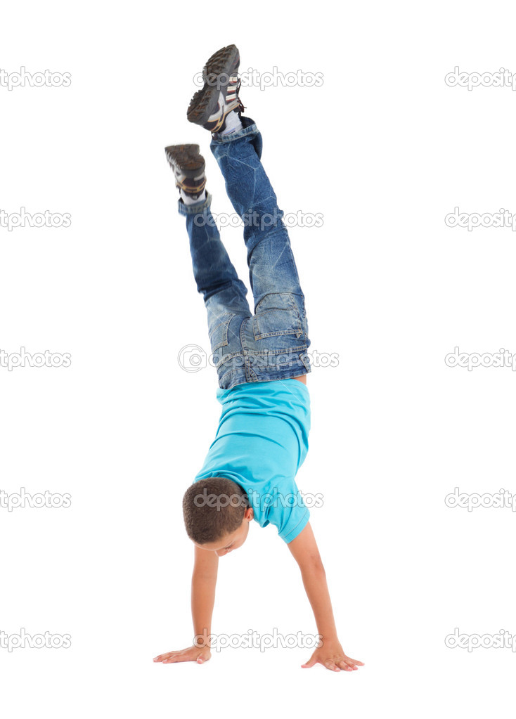 Young boy handstand — Stock Photo #11308010