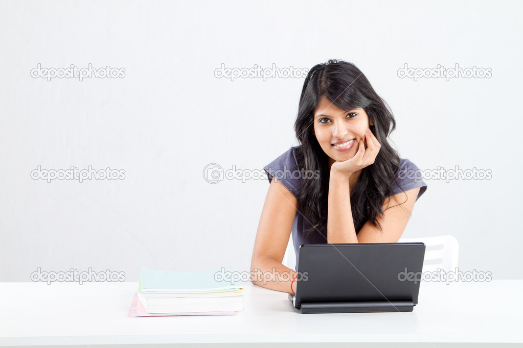 Cute smiling indian female college student — Stock Photo #11308621