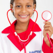 Little doctor holding a stethoscope — Stock Photo