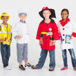 Group of little workers in uniform — Stock Photo
