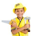 Happy little boy in builder's uniform — Stock Photo