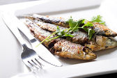 Fried sardine on plate — Stock Photo