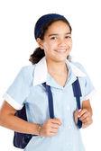Preteen schoolmeisje uniform dragen en uitvoering schooltasje — Stockfoto