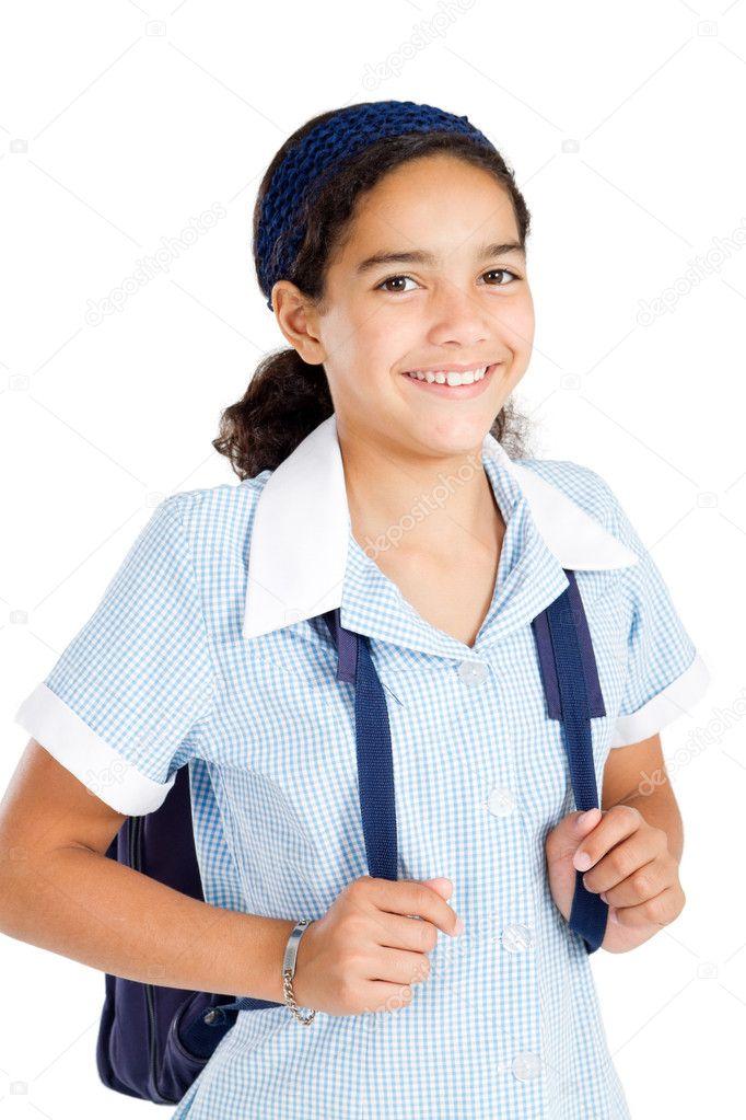 colegiala preadolescente llevando uniforme y mochila - Imagen de stock