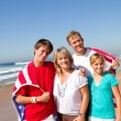 Royalty-Free Stock Photo: American family on beach