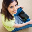 Young beautiful woman using laptop — Stock Photo #11364260