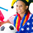 African american soccer fan — Stock Photo