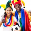 Cheerful african soccer fans — Stockfoto