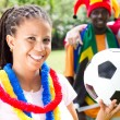 Group of young soccer fans — Stock Photo #11364417