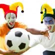 Super soccer fans fighting for a soccer ball — Stock Photo #11364444