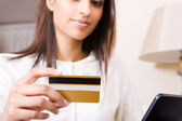 Credit card and shopping online — Stock Photo