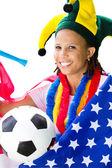 African american soccer fan — Stock Photo