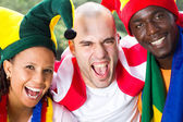Group of super fans of sports — Stock Photo