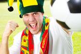 Fã de futebol português animado — Fotografia Stock