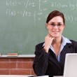 Young female teacher in classroom — Stock Photo