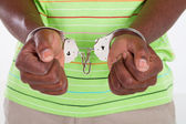 African american man with handcuffs — Stock Photo