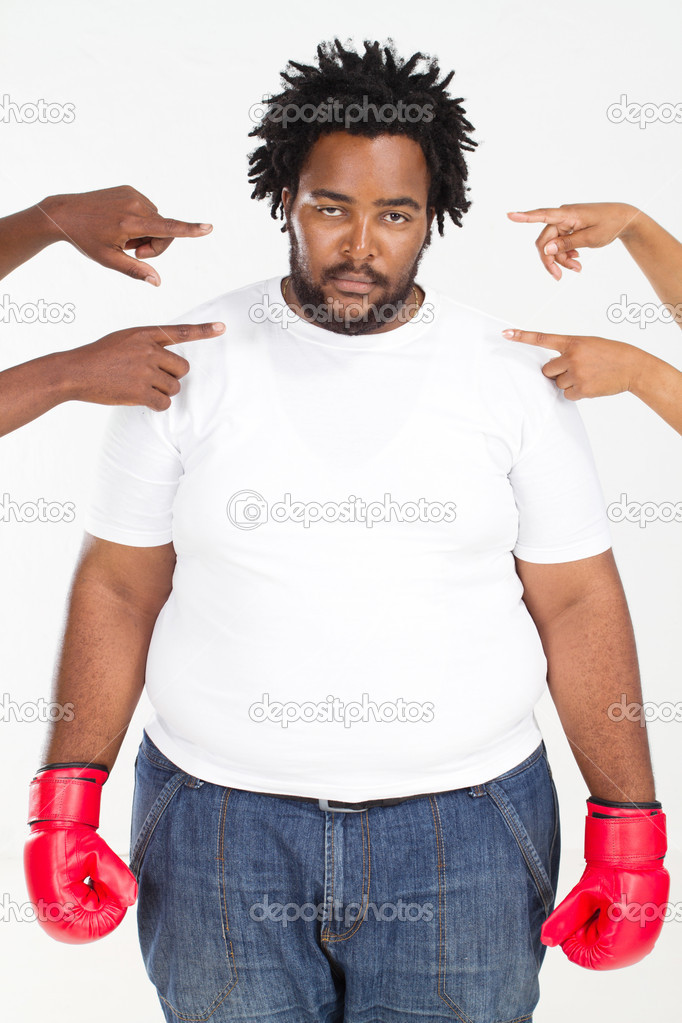 Overweight african american man ready fighting back accusing — Stock Photo #11428392