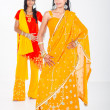 Stock Photo: Young indian women in traditional sari in studio