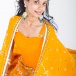 Stockfoto: Young indiwomin saree studio portrait