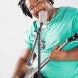 Stock Photo: African american male singer performing