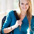 Pretty blond female college student — Stock Photo