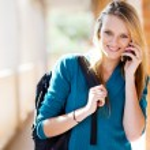 Female university student talking on the phone — Stock Photo #11939696