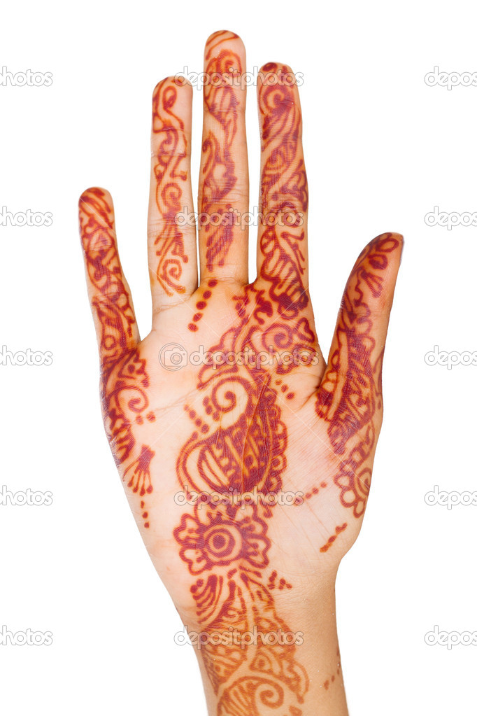 Indian woman hand with henna isolated on white — Stock Photo #11938405