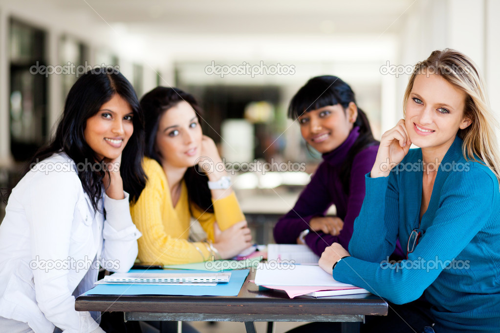 Group of female college students sitting by school cafeteria — Stock Photo #11940068