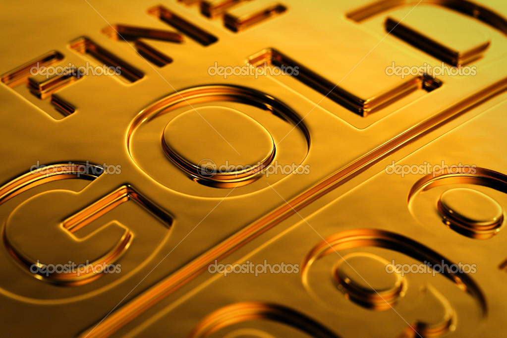 Close-up view of a gold bar with shallow depth of field. — Stock Photo #12210004