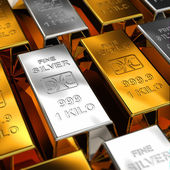 Gold and Silver Bars — Stok fotoğraf