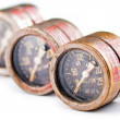 Stock Photo: Three old rusty gauge